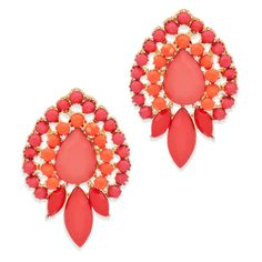 Hot coral and rose stones form an absolutely striking design in the Karina earrings. Prong set circular, marquis, and teardrop lovelies make up this bright splendor. Show off Karina at your next outing.