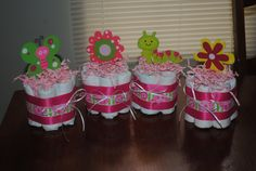 Set of four Small one layer Pink Flower, Butterfly theme Diaper Cakes  - Baby Girl shower gift /Centerpiece via Etsy