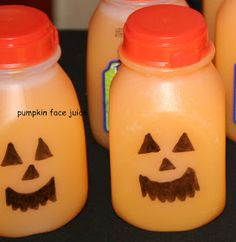 A Simple, good trick or treat goodie, draw face on juice bottles. FUN Kid Friendly Halloween Party Ideas
