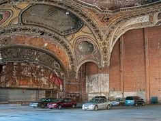 old Detroit theatre.now parking lot. What an utter lack of appreciation for a grand historic landmark.way to go Detroit. Abandoned Buildings, Abandoned Detroit, Old Buildings, Abandoned Places, Detroit Ruins, Detroit Houses, 31 Days Of Halloween, Detroit Michigan, Detroit Usa