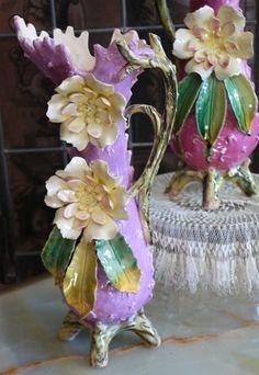 Pair French Majolica Vases 19thC.