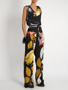 Twisted floral-print crepe jumpsuit