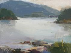Christine Lafuente . Somes Sound, Overcast Evening . oil on mounted linen, 9 x 12