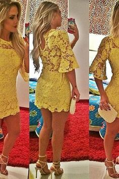 Lace Half Sleeve Homecoming Dresses,Sexy Evening Dresses,Short Cocktail Dresses,Yellow Mini 2016 Popular Prom Dresses,Wedding Guest Prom Gowns, Formal Occasion Dresses,Formal Dress