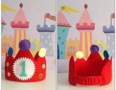 corona infantil cumpleaños fieltro hecho a mano