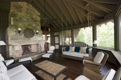 Traditional Porch Design   love the celing--swing and furniture