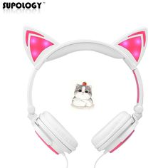 SUPOLOGY Cat Ear Headphones with LED Light Cute Cat Ear Headset for Girls Children Foldable Flashing Glowing Gaming Earphone
