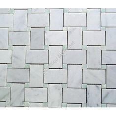 White Carrara Marble Italian Bianco Carrera Basketweave Mosaic Tile with Ming Green Dots Polished