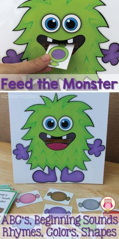 Practice many concepts with this fun Feed the Monster Activity.  Easily differentiated!  Practice the alphabet, letter recognition, beginning sounds, rhyming words, shapes, colors, and even counting.  Perfect for monster theme, Halloween theme, and October theme units and learning centers for preschool, pre-k, and kindergarten.