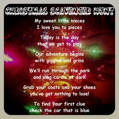 Christmas Scavenger Hunt~ Great holiday game & poem to go along with the activity.