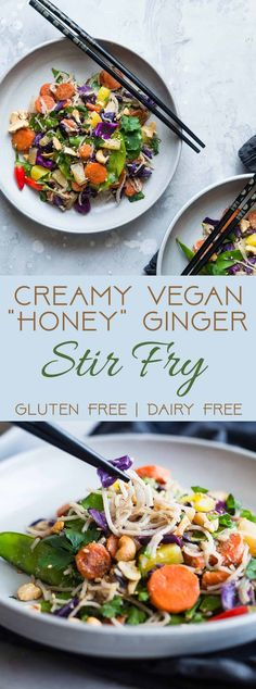 """Vegan """"Honey"""" Ginger Stir Fry with Cashew Cream - This Easy Healthy Vegetarian Stir Fryis a simple and quick vegan friendly dinner that is LOADED with vegetables and flavor! Even picky eaters will love this simple, dairy and gluten free recipe!   #Foodfaithfitness.com   #vegan #vegetarian #stirfry #glutenfree #healthy"""