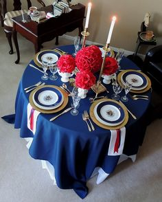 I like this elegant table décor for a more elegant style for my sons Graduation / US Navy Going Away party. This immaculate tablescape uses a navy blue tablecloth as an overlay . Military Retirement Parties, Military Party, Military Ball, Ball Decorations, Patriotic Decorations, Memorial Day Decorations, Fourth Of July Decor, 4th Of July, Navy Party
