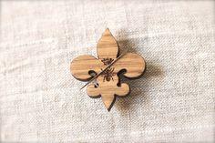 Queen Bee Fleur de Lys Needle Minder :  fleur-de-lis or fleur-de-lys wooden cross stitch tool needle holder magnet The Cottage Needle by thecottageneedle