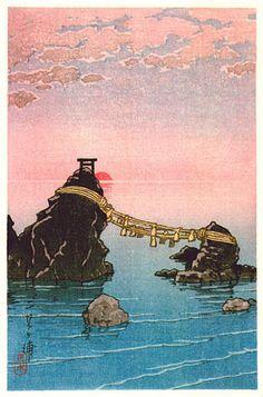 hanga gallery . . . torii gallery: Futamigaura by Kawase Hasui