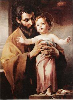 Saint Joseph and Jesus Catholic Art, Catholic Saints, Religious Art, Jesus Mother, Blessed Mother, Religious Pictures, Jesus Pictures, Feast Of St Joseph, Saint Joseph