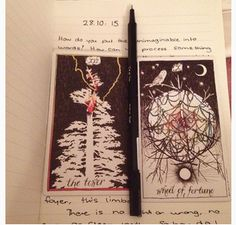"""Real life tarot images from devinastarot instagram """" The Tower """" Wheel of Furtune """""""