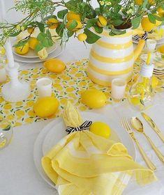 Lemon Crafts, Pink Lemonade Party, Lemon Kitchen Decor, Lemon Party, Yellow Table, Deco Table, Mellow Yellow, Votive Candles, Table Settings