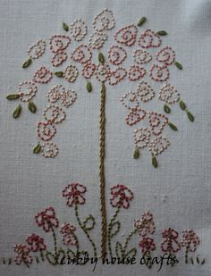 weeping rose by Cubby House Crafts Hand Embroidery Flowers, Silk Ribbon Embroidery, Hand Embroidery Patterns, Embroidery Applique, Cross Stitch Embroidery, Embroidery Designs, Funny Embroidery, Embroidery Works, Embroidery Stitches Tutorial
