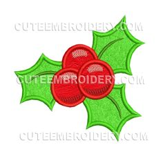 This free embroidery design is a holly.