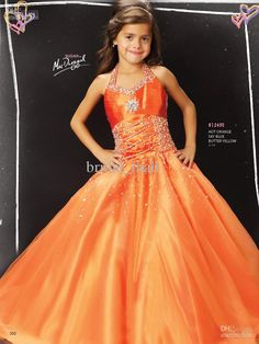 Wholesale Beautiful Children Pageant Gown halter beaded puffy Gown orange little girl's Pageant dresses FO-001, Free shipping, $81.54-94.33/Piece | DHgate