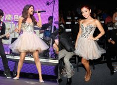Selena Gomez Ariana Grande, buts Ariana wears more of those dresses often