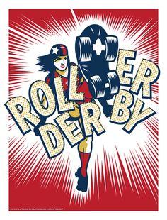 "Roller Derby - Art Print 19""x25"" $15"