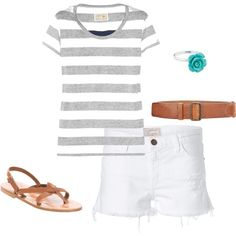 White jeanss. Gray and teal. Perfect summer outfit.