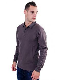 210974d1910f REPLAY Ανδρικη μακρυμάνικη slim fit πικέ μπλούζα πόλο με γιακά