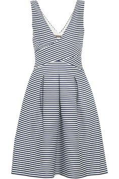 Halston Heritage|Striped matte-satin dress|NET-A-PORTER.COM