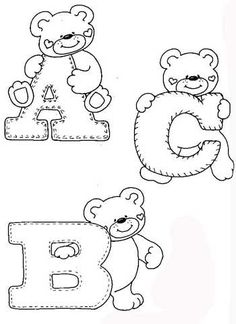 drawings-alphabet-teddy-bears-ornament-classroom-for-children- – alphaber and ted … - Stickerei Ideen Felt Patterns, Applique Patterns, Initial Canvas, Coloring Books, Coloring Pages, Alphabet Templates, Embroidery Alphabet, Kids Room Wall Art, Personalized Wall Art