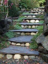 15 Awesome DIY Garden Steps and Stairs - DIY Garten Landschaftsbau Landscape Design, Garden Design, Patio Design, Landscape Stairs, Landscape Rake, Landscape Architecture, House Design, Garden Stairs, Garden Cottage