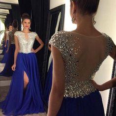 Mint Green Royal Blue Prom Dress Long 2016 Sparkly Crystal Formal Party Evening Gowns Split Chiffon Vestido de festa L171