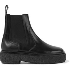 Isabel Marant Isabel Marant - Celton Leather Chelsea Boots - Black (€565) ❤ liked on Polyvore featuring shoes, boots, ankle booties, chunky booties, black chelsea boots, chunky black boots, black boots and chelsea boots