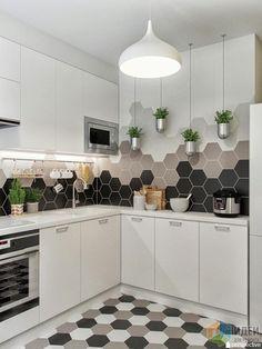 Плитка на кухонном фартуке: фабрика Equipe Ceramicas, коллекция HEXATILE