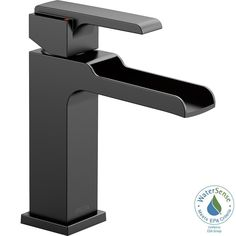 Delta Ara Single Hole Single-Handle Bathroom Faucet Channel Spout in Matte Black