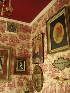 Painted ceiling, wallpaper, interesting idea using a strong dark color on the ceiling from the wallpaper