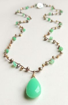Playa Necklace with Chrysoprase and Freshwater