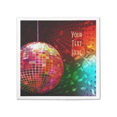 Disco Night 70's Retro Disco Ball Napkins -  *Customize your napkins by adding text.              ... #custom #print on demand art themed #gift #taylorcorp  napkin design by #BlueRose_Design - #taylorcorp  #napkin #disco #retro #70's #70'sretro #discoball #discolights #70'smusic #retropattern #retromusic #discoparty