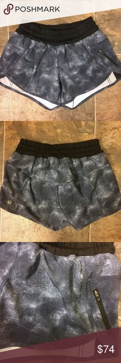 Rare Lululemon tracker shorts Worn once and hand washed once. Super rare chevron/faded blue print. Will trade for size 6 lulu tracker short, or selling to make most of my money back, which I have to set high due to fees. A little lower elsewhere, just ask! lululemon athletica Shorts