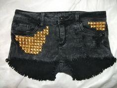 Acid Wash Denim Gold Studded Shorts. $79.99, via Etsy.