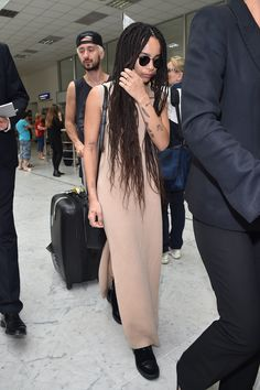 These celebs show comfy doesn't have to come at the expense of style while traveling: Zoe Kravitz at Nice Airport.