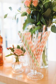 Peach Striped Straws | photography by http://www.ashley-caroline.com