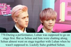 Image discovered by ♥LOve Me FOrever♥. Find images and videos about exo, sehun and luhan on We Heart It - the app to get lost in what you love. Exo Facts, Funny Facts, Exo Ot12, Chanbaek, 5 Years With Exo, Fandom Kpop, Chanyeol Baekhyun, Xiuchen, Exo Memes