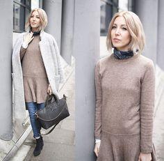 More looks by Stryle TZ: http://lb.nu/stryletz  #classic #elegant #minimal #ganni #coat #teddy #grey #denim #cropped