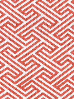 Geo Maze, Coral 100% Linen $29.95 /yd  #fabric