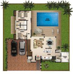 Plano de casa moderna de dos pisos con piscina: