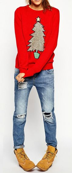 Women's Red Chrismas Tree Loose Sweater