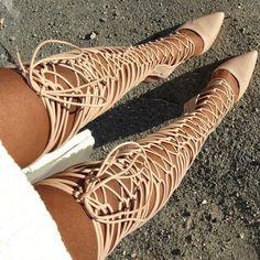 Glam Over The Knee Gladiator Heels