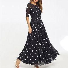 394e39e584 Round Neck Ruffled Hem Printed Maxi Dress
