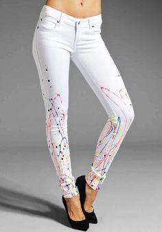 Splatter White Skinny Jeans - Fashion White Skinny Jeans.